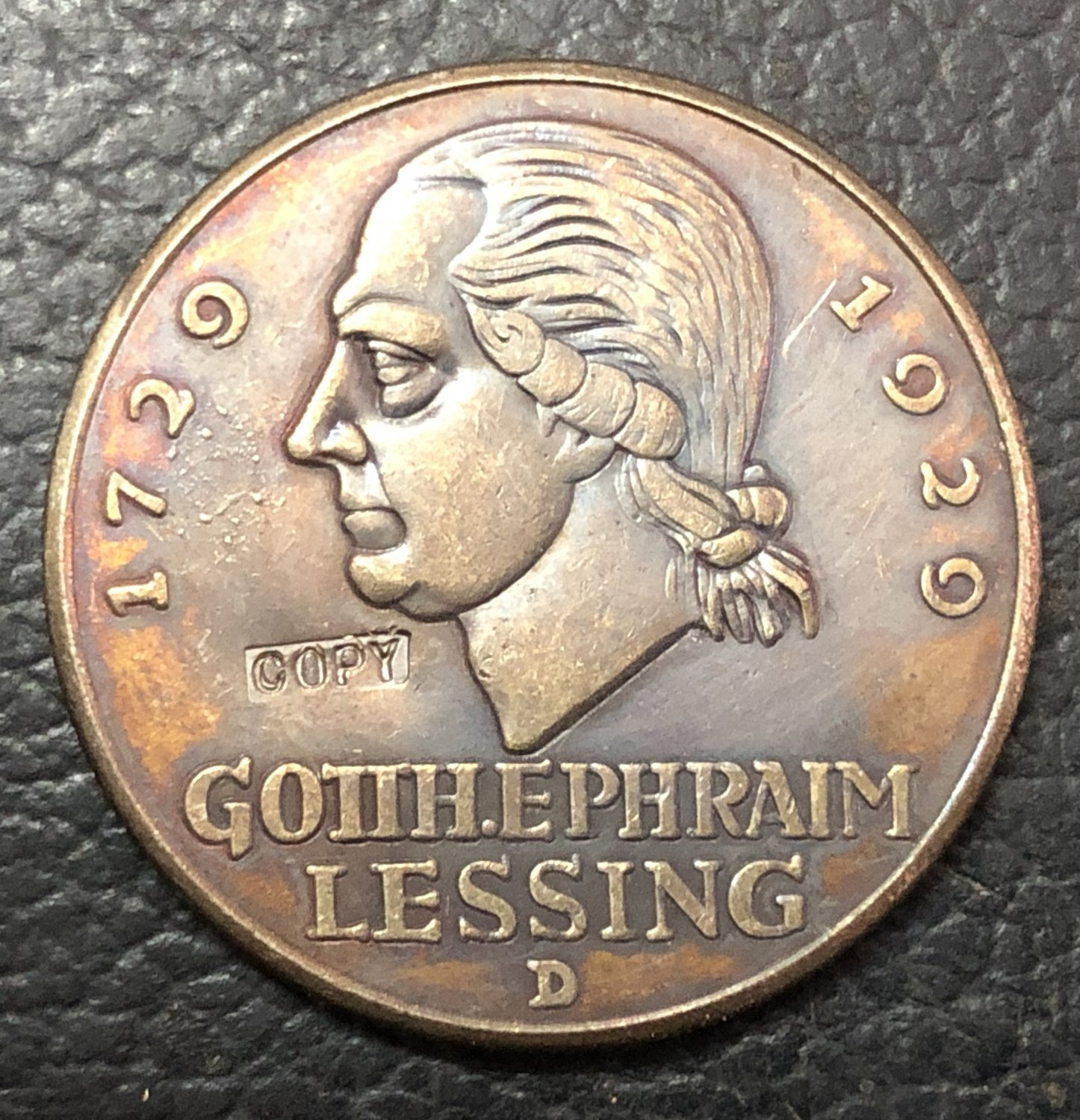 1929 Germany 3 Reichsmark Lessing Copy Coin