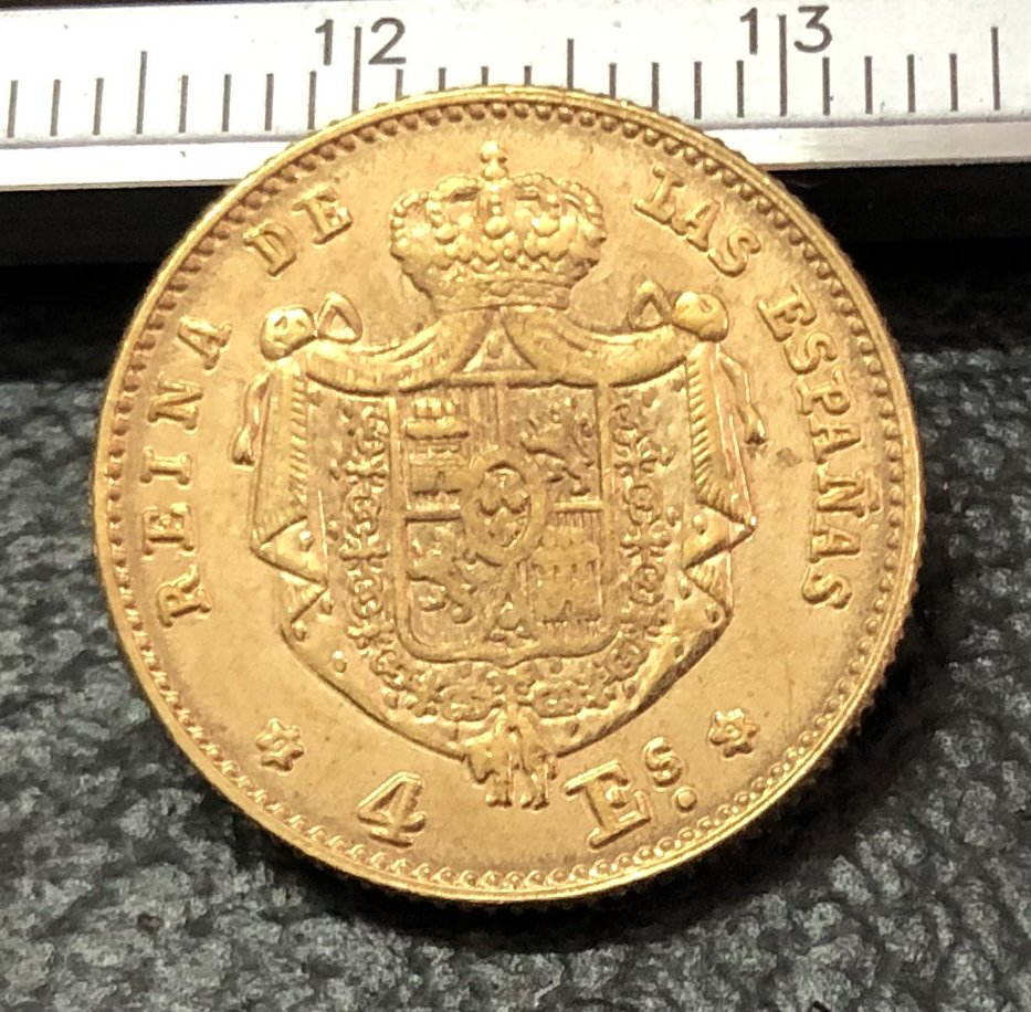 1868 Spain 4 Escudos-Isabel II Gold Copy Coin