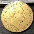 1938 Albania 100 Franga Ari-Zog I Gold Plated Copy Coin