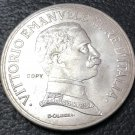 1914 Italy 5 Lire - Vittorio Emanuele III Silver Plated Coin