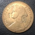 1862 United Kingdom 1 Penny - Victoria (2nd portrait) Copper Coin 31MM