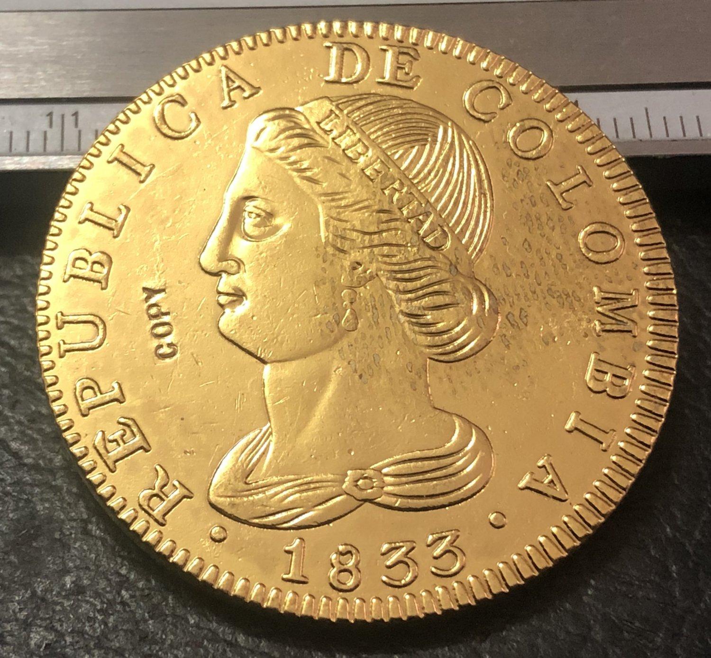 1833 Colombia 8 Escudos (Republic of Colombia, Republic of Nueva Granada) Gold Copy Coin