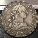 1773 (J.R) BOLIVIA Arms of Spain 8 Reales- Carlos III Silver Plated Copy Coin