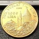 1978 Turkey 1000 Lira Jalaladdin Rumi Gold Copy Coin