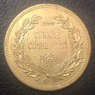 1923/25 Turkey 500 Kurus 22k Gold plated exact Copy Coin