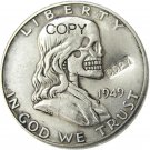FK(02)Hobo Creative 1949 Franklin Silver Half Dollar Skull Zombie Copy Coins