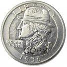 Hobo Creative 1936 Washington Quarter Dollars Skull Zombie Skeleton Hand Carved Copy Coins