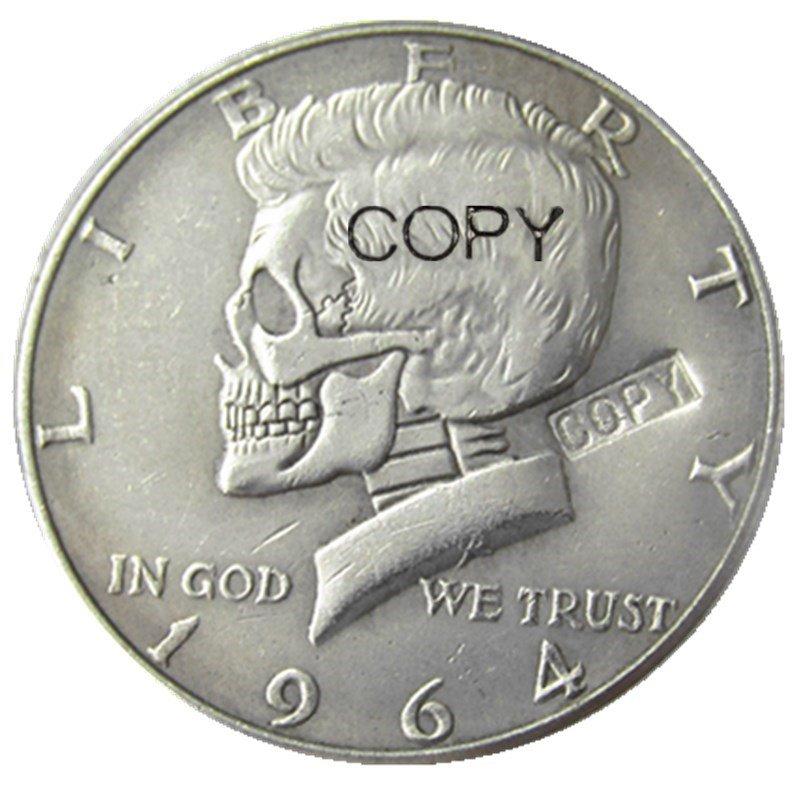 Hobo Creative 1964 Kennedy Silver Half Dollar skull zombie skeleton hand carved Copy Coins
