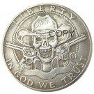 Hobo Creative 1961 Franklin Silver Half Dollar skull zombie skeleton hand carved Copy Coins