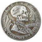 Hobo Creative 1963 Franklin Silver Half Dollar skull zombie skeleton hand carved Copy Coins