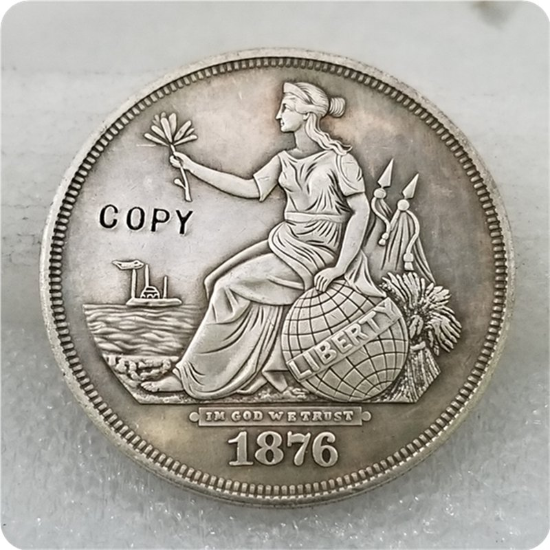 1876 $1 Liberty Seated On Globe Trade Dollar Copy Coin