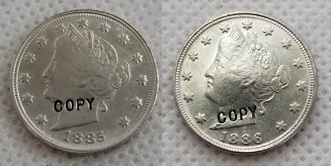 1885/1886 Liberty Nickel UNC Two Face Copy Coin No Stamp