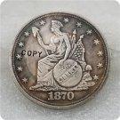 1870 Indian Headdress Dollar Copy Coin No Stamp