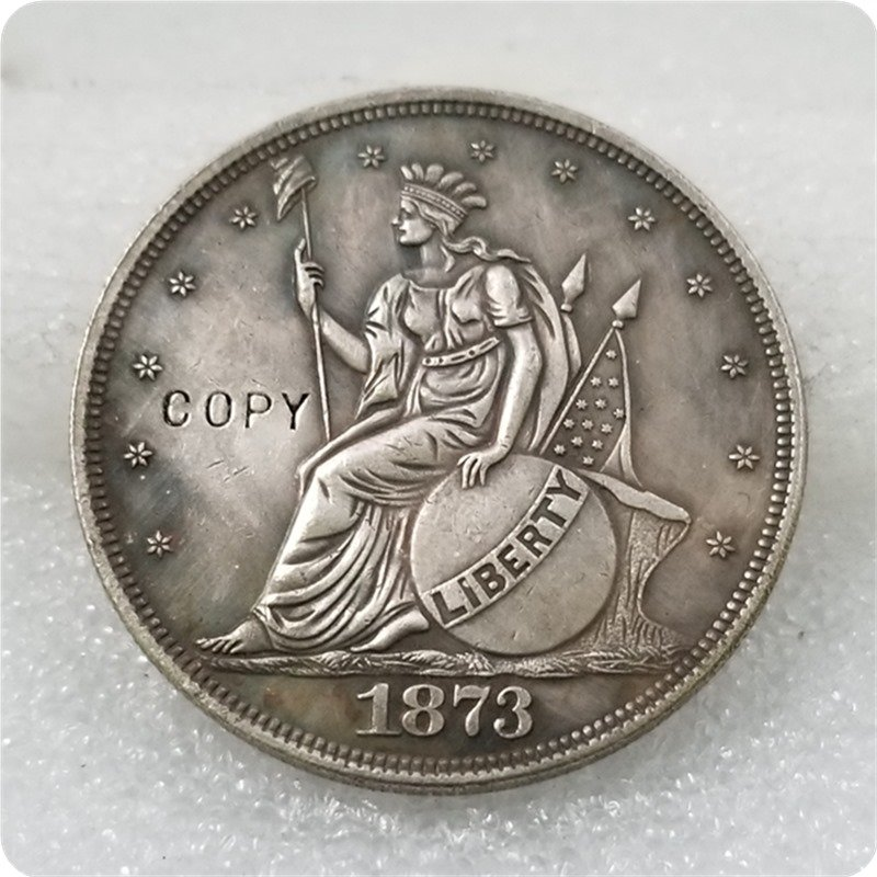 1873 Seated Indian Headdress Trade Dollar Copy Coin No Stamp