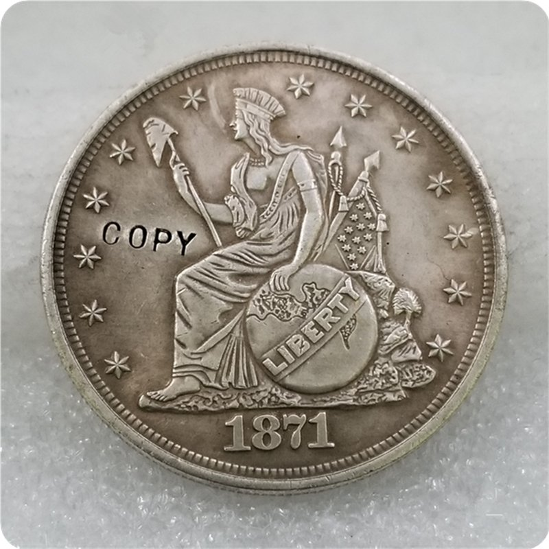 1871 Indian Headdress Dollar Patterns Copy Coin No Stamp