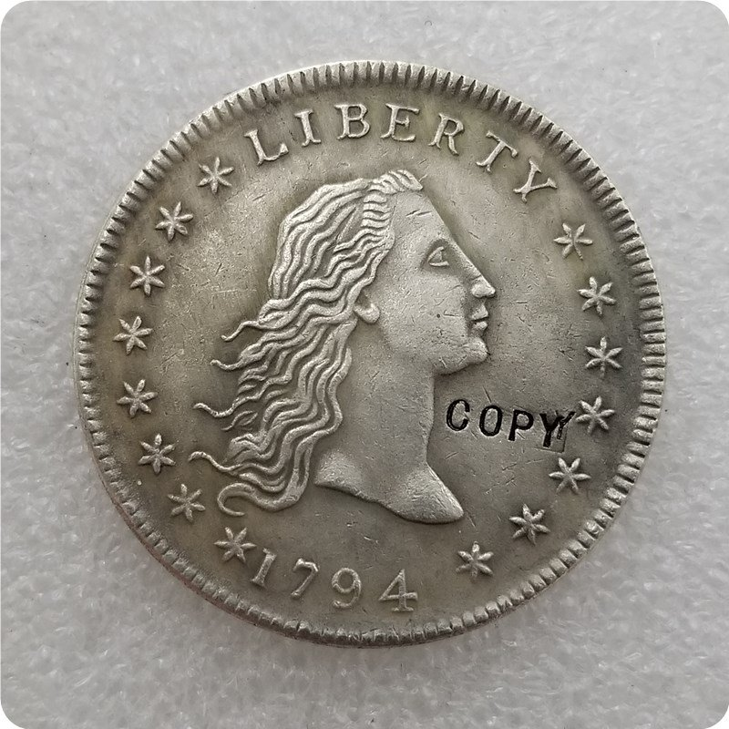1794 Flowing Hair Dollar Copy Coin No Stamp