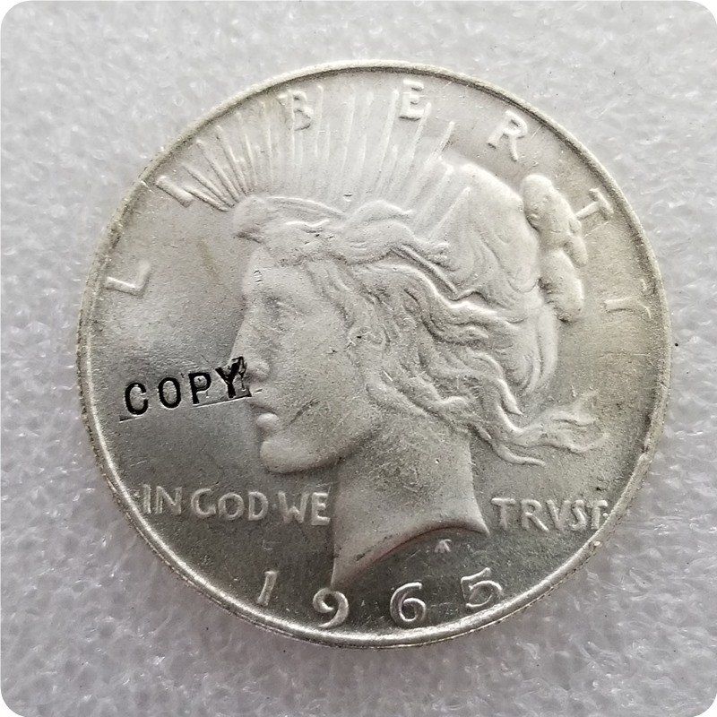 USA 1965 Peace Dollar Copy Coin No Stamp