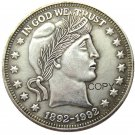 US Coin Collectors 1892-1992 Barber Dollar Silver Plated Copy Coin No Stamp