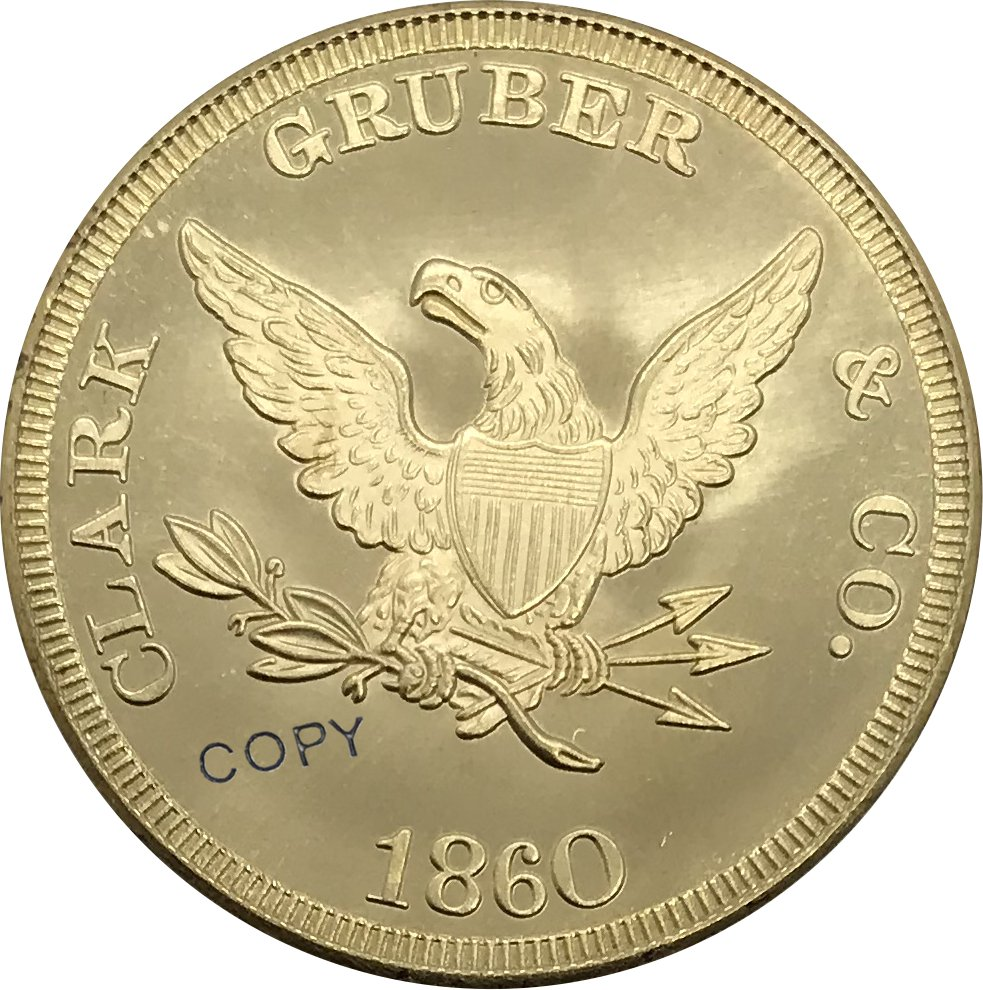 1860 United States $20 Denver 20 Dollar Brass Collectibles Gold Copy Coin No Stamp
