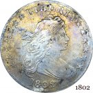 US 1802 Liberty Draped Bust One Dollar Heraldic Eagle Cupronickel Silver Plated Copy Coins