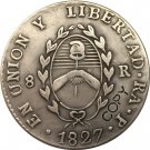 Argentina 1827 La Rioja 8 Reales Provincias Del Rio De La Plata Silver Plated Copy Coin