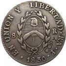 Argentina 1830 La Rioja 8 Reales Provincias Del Rio De La Plata Silver Plated Copy Coin
