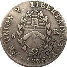 Argentina 1835 La Rioja 8 Reales Provincias Del Rio De La Plata Silver Plated Copy Coin