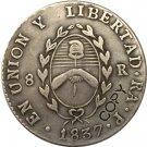 Argentina 1837 La Rioja 8 Reales Provincias Del Rio De La Plata Silver Plated Copy Coin