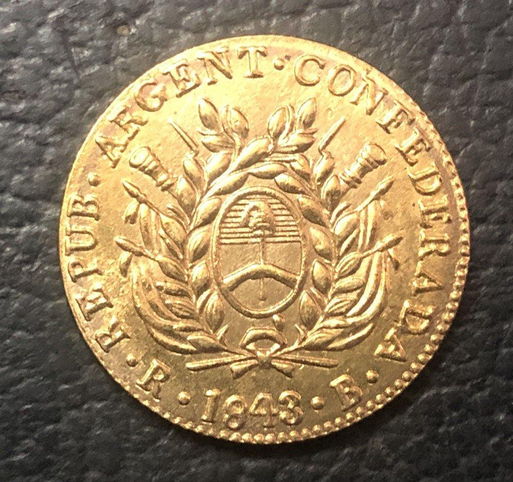 Argentina 1843 La Rioja 2 Escudos Gold Copy Coin
