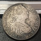 1803 (P.J) BOLIVIA Arms of Spain 8 Reales- Carlos IV Silver Plated Copy Coin
