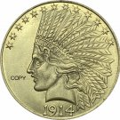 United States Of America 10 Dollars 1914 Liberty Indian Head Eagle Gold Copy Coin