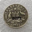 1922/1 Australian Threepence Copy Coin