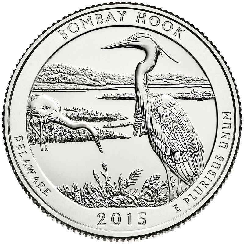 2015 US National Park Delaware Bombay Hook Quarter Dollar Commemorative Copy Coin
