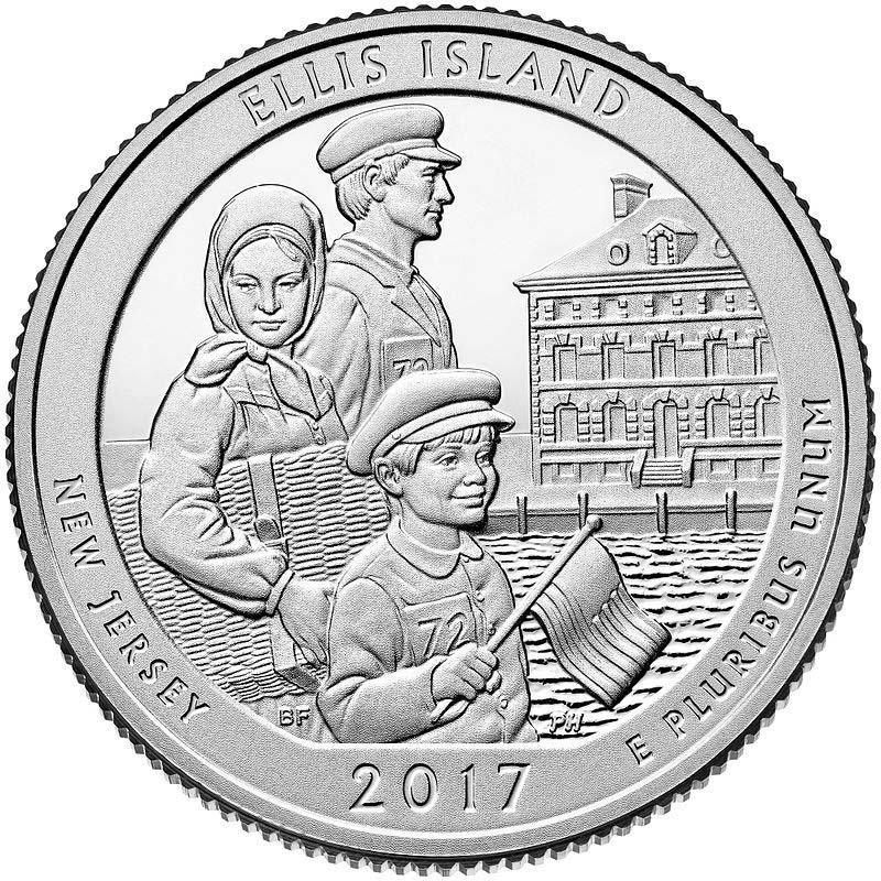 2017 US New Jersey Ellis Island National Park Quarter Dollar Commemorative Copy Coin