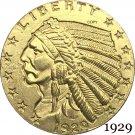 1929 US 2½ Dollars Indian Head Quarter Eagle 2.5 USD Gold Copy Coin