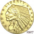1927 US 2½ Dollars Indian Head Quarter Eagle 2.5 USD Gold Copy Coin