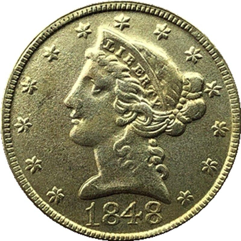 US 1848 Liberty Coronet Head Five Dollar Gold Copy Coins