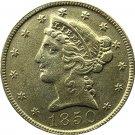 US 1850 Liberty Coronet Head Five Dollar Gold Copy Coins