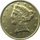 US 1851 Liberty Coronet Head Five Dollar Gold Copy Coins