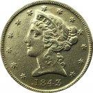US 1843 Liberty Coronet Head Five Dollar Gold Copy Coins