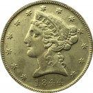 US 1844 Liberty Coronet Head Five Dollar Gold Copy Coins