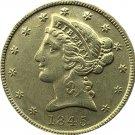US 1845 Liberty Coronet Head Five Dollar Gold Copy Coins