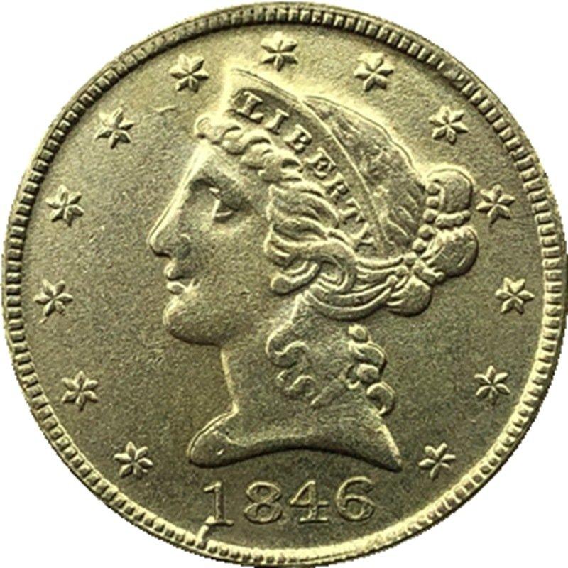 US 1846 Liberty Coronet Head Five Dollar Gold Copy Coins