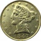 US 1847 Liberty Coronet Head Five Dollar Gold Copy Coins