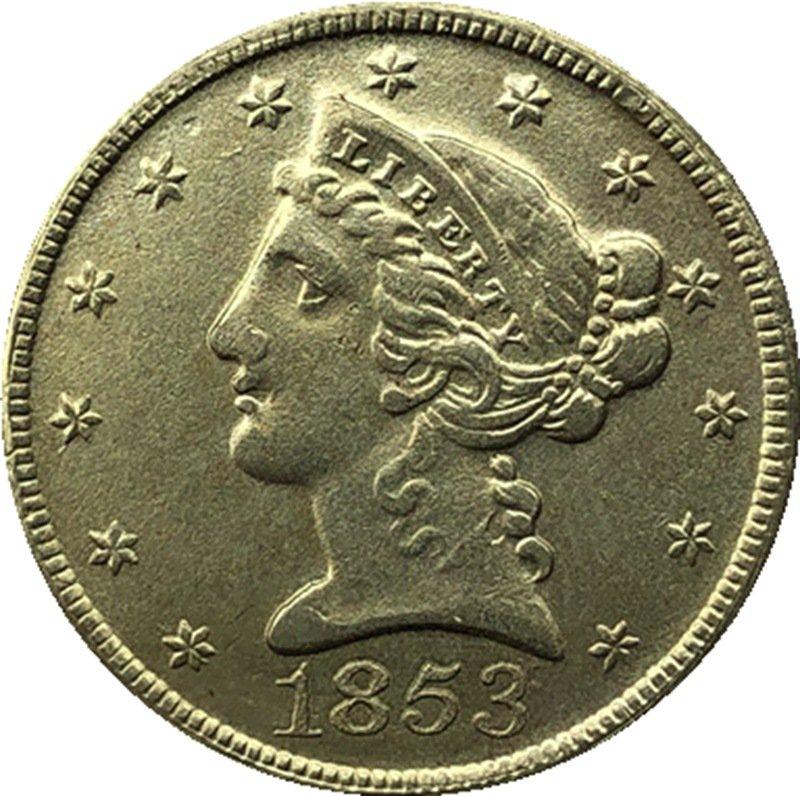 US 1853 Liberty Coronet Head Five Dollar Gold Copy Coins