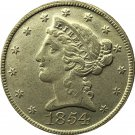 US 1854 Liberty Coronet Head Five Dollar Gold Copy Coins