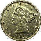 US 1855 Liberty Coronet Head Five Dollar Gold Copy Coins