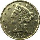 US 1856 Liberty Coronet Head Five Dollar Gold Copy Coins
