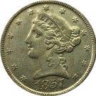 US 1857 Liberty Coronet Head Five Dollar Gold Copy Coins