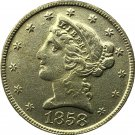 US 1858 Liberty Coronet Head Five Dollar Gold Copy Coins